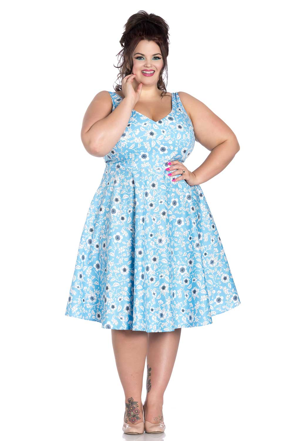 HELL BUNNY DAPHNE FLORAL 50s style SUMMER BLUE DRESS XS-4XL